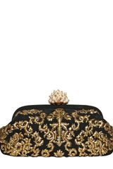 Dolce & Gabbana Miss Dea Embroidered Suede Clutch