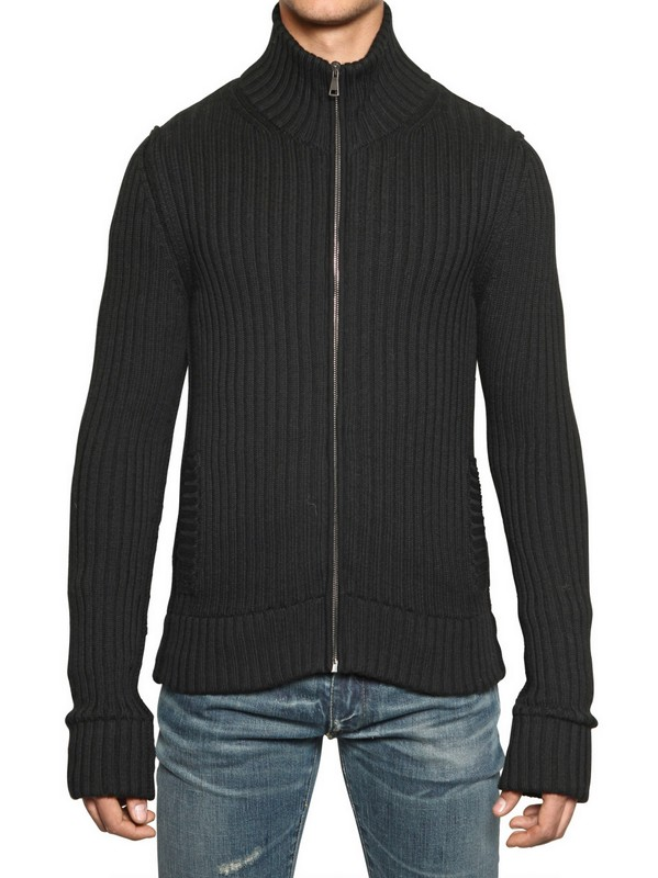 Dolce & gabbana Ribbed Knit Wool Zip Up Cardigan in Black for Men ...