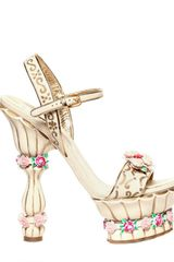 Dolce & Gabbana 160mm Crystal Leather Rose Sandals