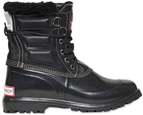 Dsquared 178 Leather Rubber Rain Canada Boots In Black For