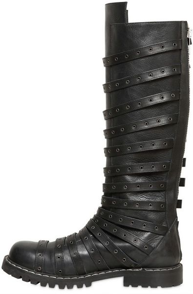 gareth pugh perforated multi leather boots in black
