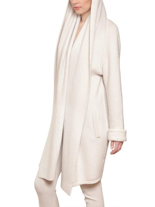 Gentry portofino Cashmere Goffrè Contrast Long Cardigan in White ...