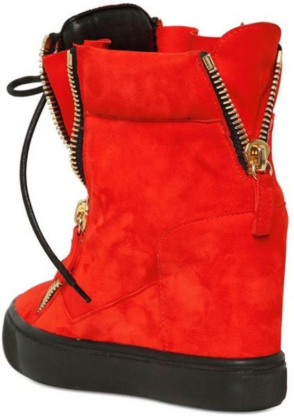 Giuseppe Zanotti 90mm Suede High Top Sneakers In Red Lyst