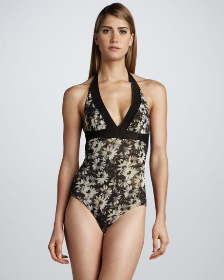 Jean Paul Gaultier Daisyprint Halter Onepiec in Floral (black/white)