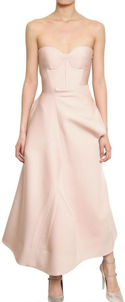 Jil Sander Bonded Stretch Techno Satin Dress in Pink