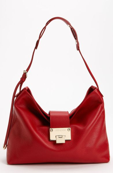 Jimmy Choo Rachel Small Grainy Calfskin Leather Shoulder Bag in Red