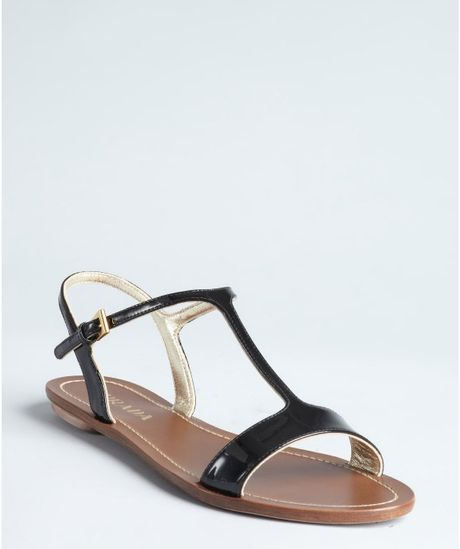prada patent leather flat sandals in black lyst
