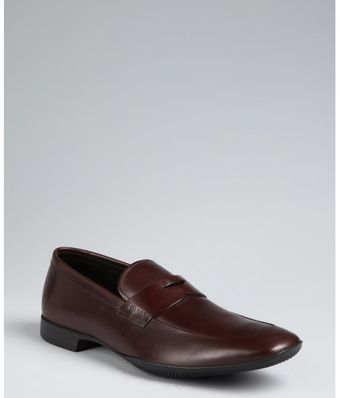 Prada Prada Sport Brown Leather Classic Penny Loafers - Lyst