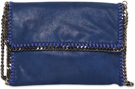 Stella Mccartney Falabella Shaggy Deer Shoulder Bag in Blue - Lyst