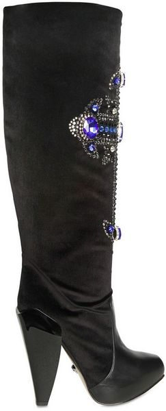 Versace 130mm Jewelled Cross Velvet Boots in Black