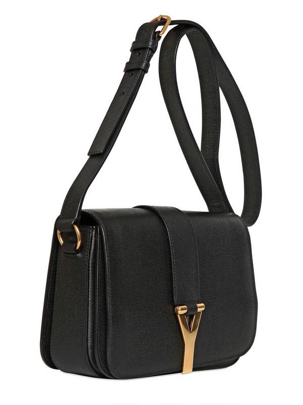 Saint laurent Medium Chyc Mini Tweed Leather Bag in Black | Lyst