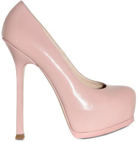Saint Laurent 140mm Tribtoo Textured Shiny Pumps in Pink