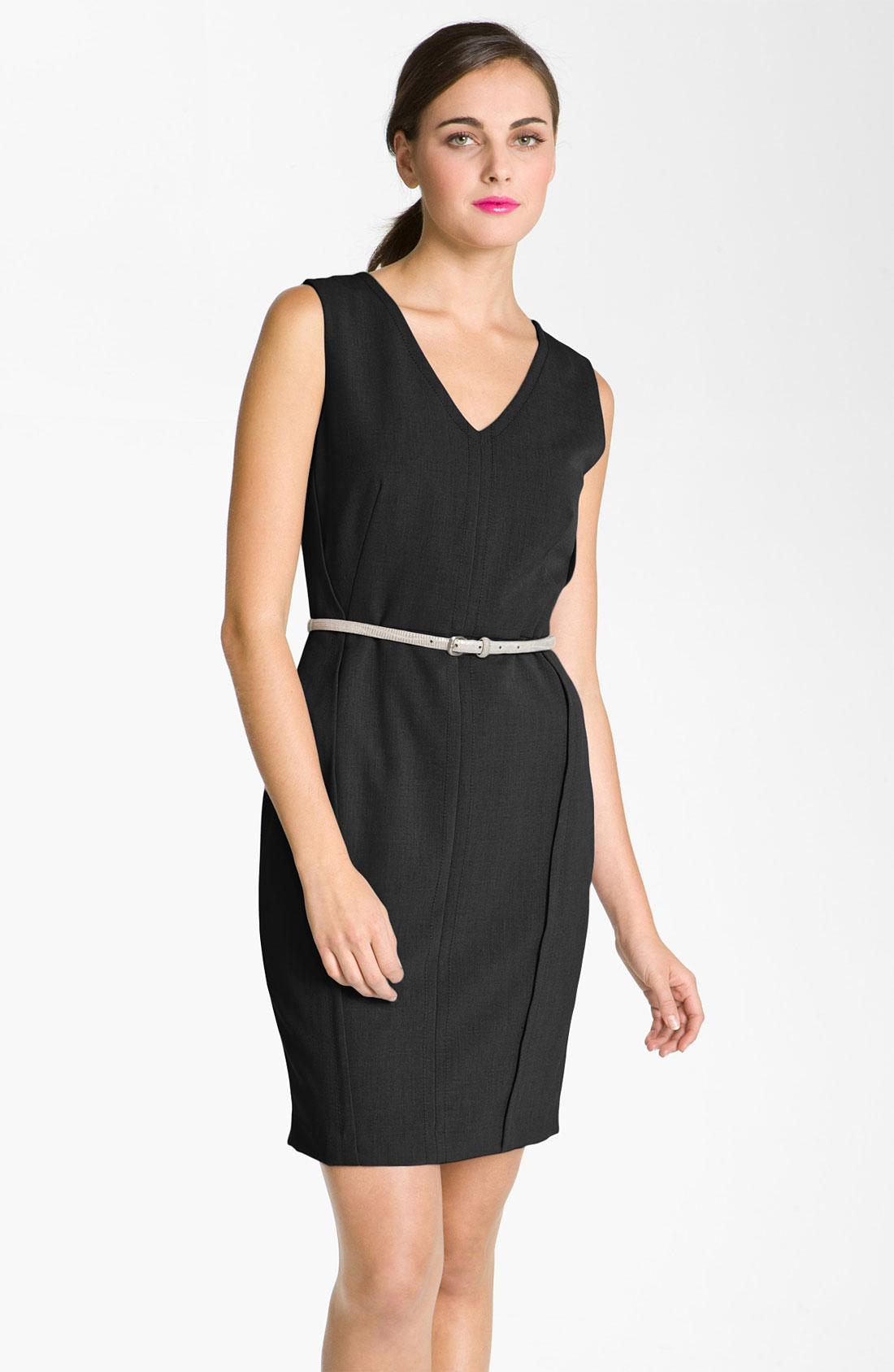calvin klein v neck belted sheath dress in black lyst