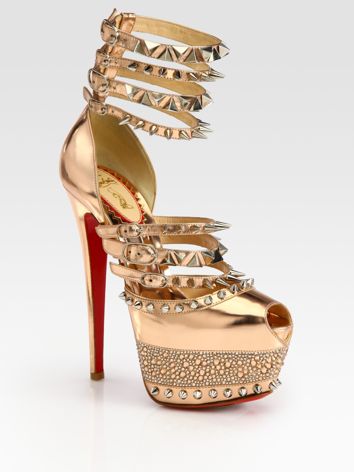 17895cc2908 Lyst - Christian Louboutin Isolde Studded Metallic Leather Platform ...