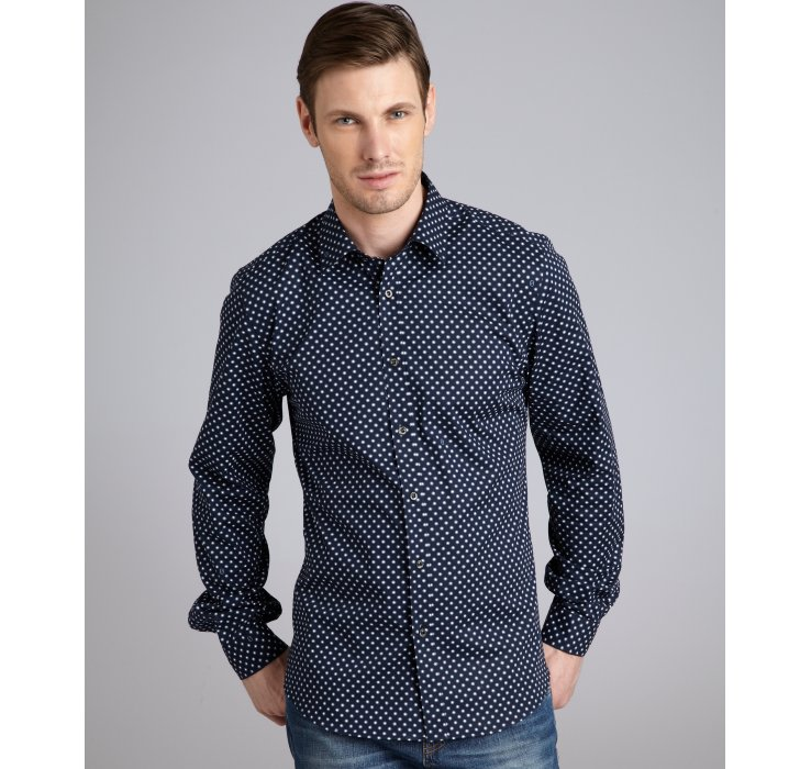 Gucci Blue Polka Dot Print Point Collar Dress Shirt in Blue for ...