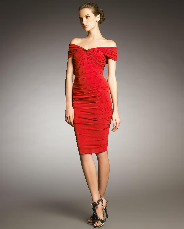 Lanvin Off Shoulder Ruched Dress In Red Lyst