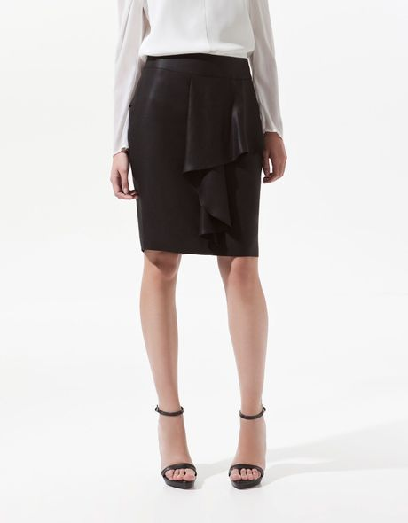 zara pencil skirt with frill at the front in black lyst