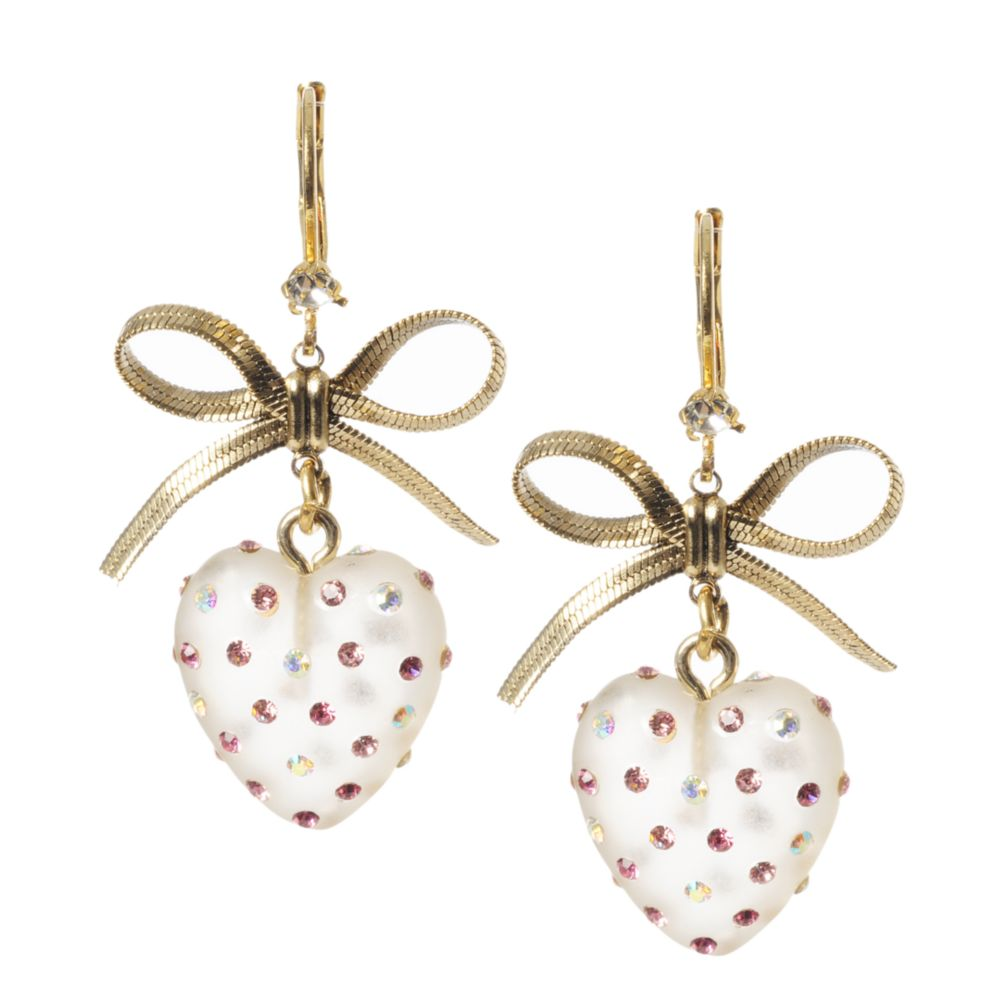 Betsey Johnson Heart and Bow Drop Earrings in Gold | Lyst