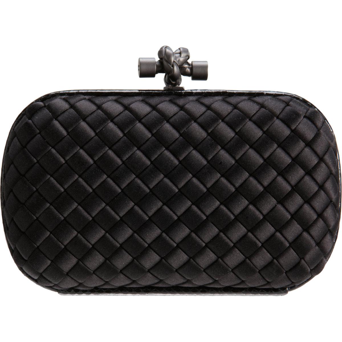 lyst bottega veneta intreccio impero clutch in black. Black Bedroom Furniture Sets. Home Design Ideas