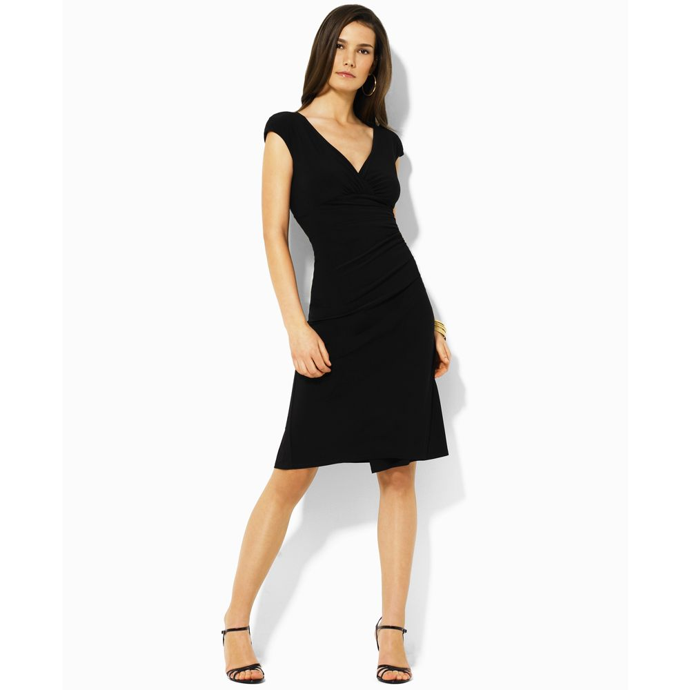 Ralph lauren Matte Jersey Short Sleeve Empire Waist Dress in Black ...