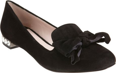 Miu Miu Bow Slipon in Black (gunmetal) - Lyst
