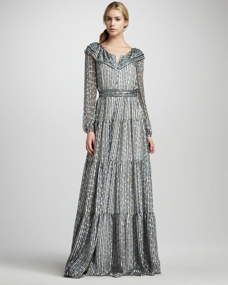 Rachel Zoe Beau Tiered Shirtwaist Gown in Blue