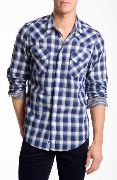 Ben Sherman Plaid Western Shirt In Blue For Men Deep