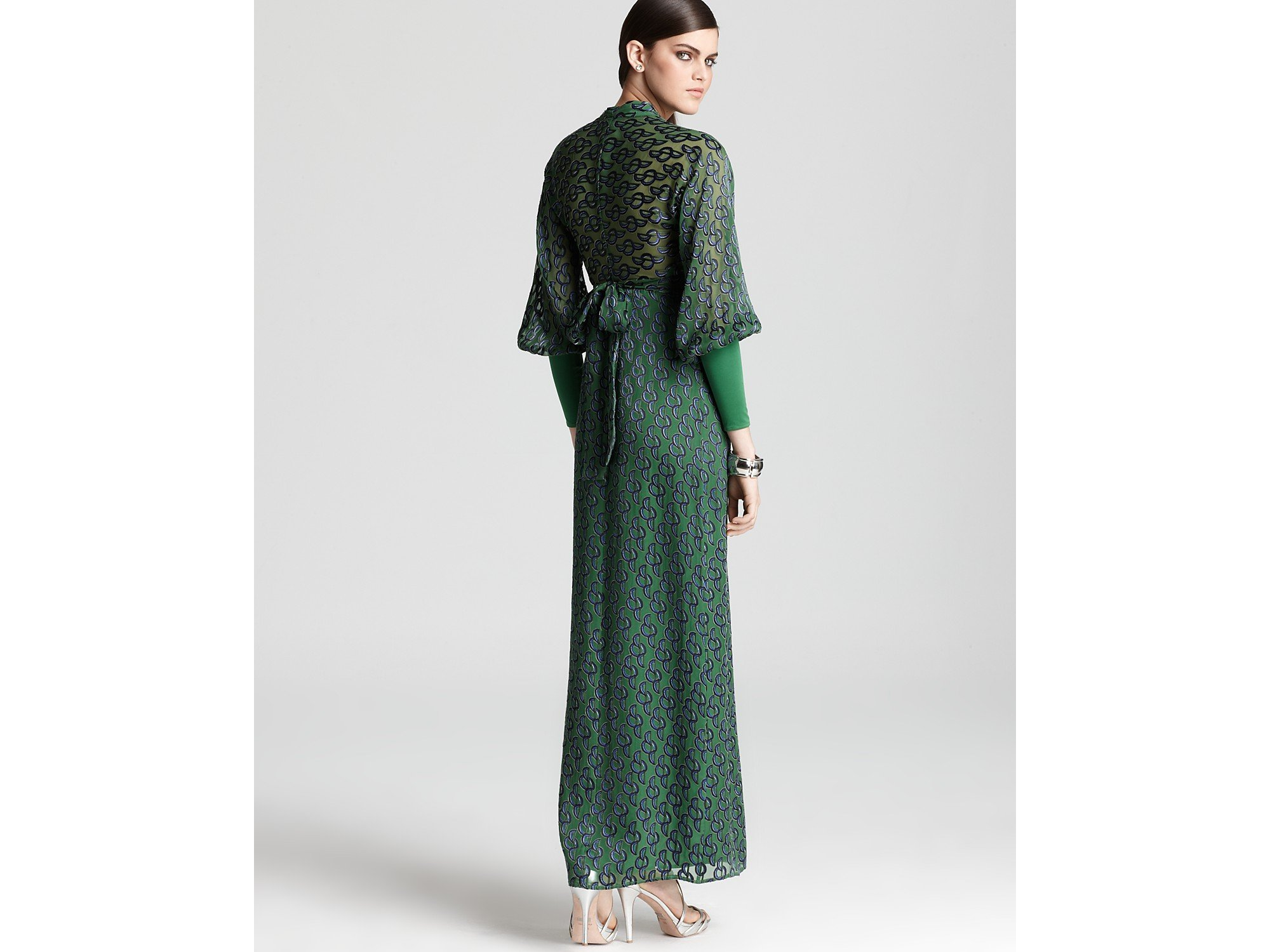 Issa Maxi Dress Long Sleeve V Neck in Green | Lyst