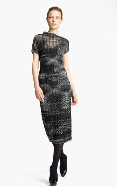 Missoni Zigzag Knit Dress in Gray (black)