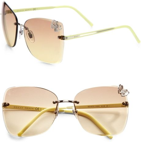 Rimless Butterfly Glasses : Gucci Rimless Butterfly Sunglasses in Gold (yellow) Lyst