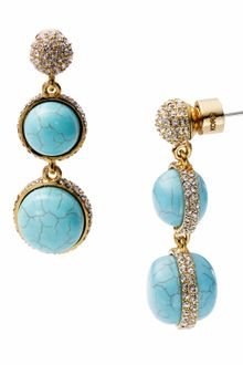 Michael Kors Turquoise Double Drop Earrings with Pave Detail - Lyst