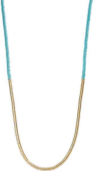 Michael Kors Turquoise Tubular Bead Necklace with Pave Detail - Lyst