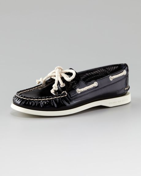 sperry top sider authentic patent leather boat shoe in