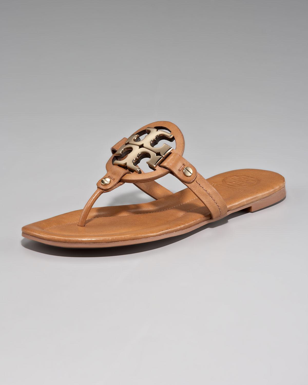 Tory Burch Miller Logo Thong Sandals In Brown Tan Bronze