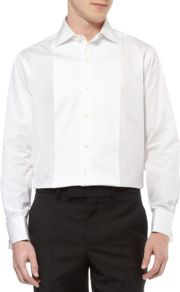 Brooks brothers bibfront cotton tuxedo shirt in white for for Tuxedo shirt bib front