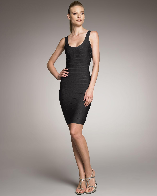 Hervé léger Basic Bandage Dress Black in Black | Lyst