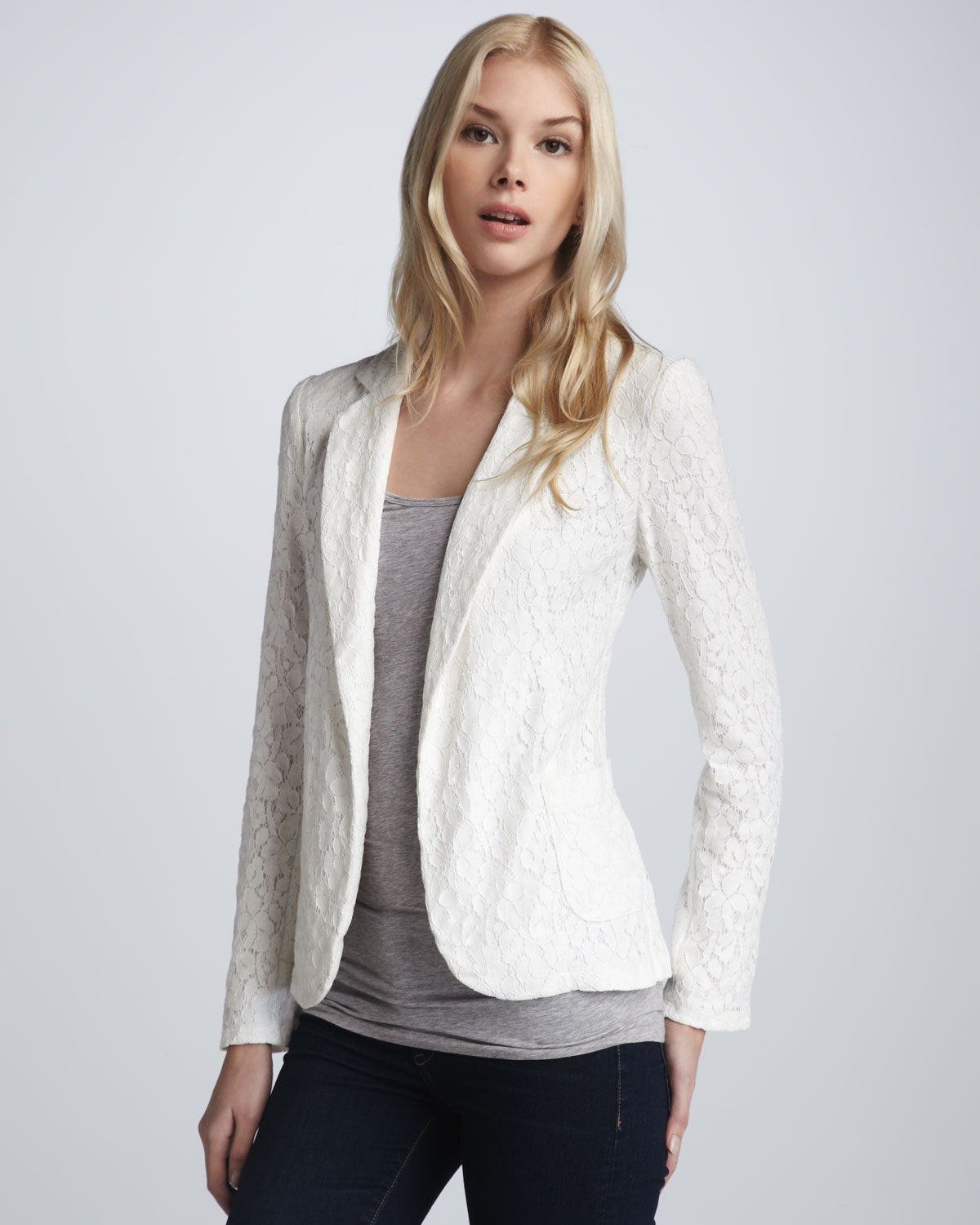 Rory beca Sofia Lace Blazer in White | Lyst