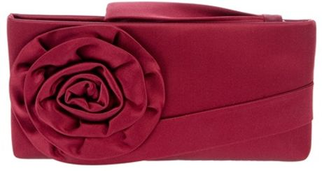 Valentino Rose Detail Clutch in Red (rose)