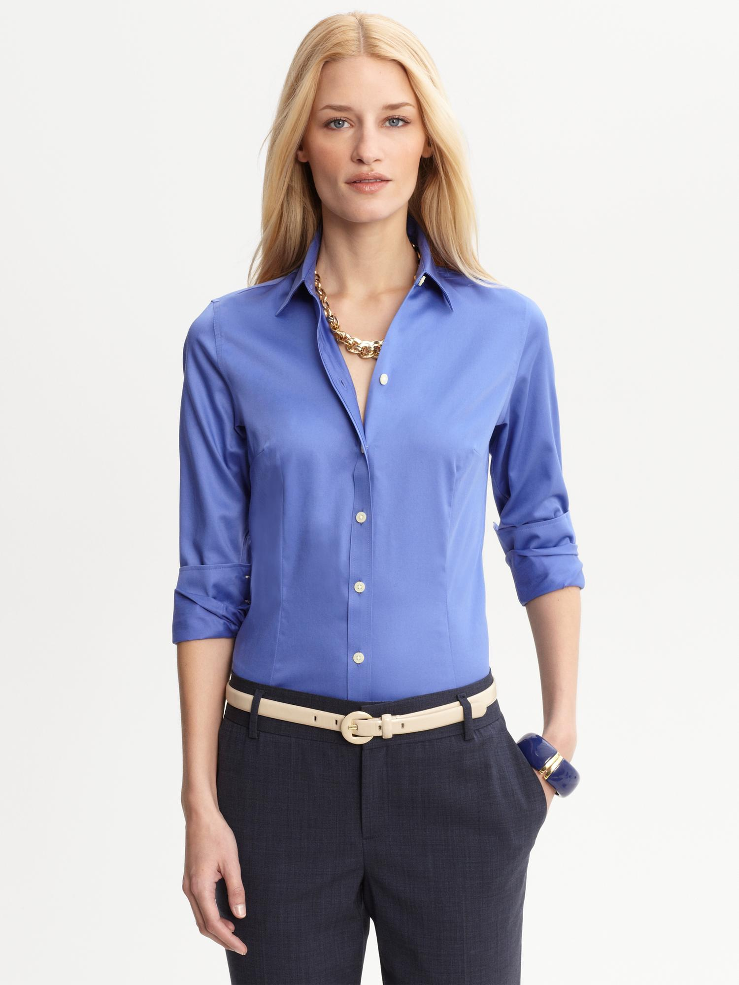 3989cef8625 Lyst - Banana Republic Tailored Non Iron Sateen Shirt in Blue