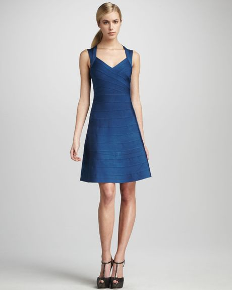 Hervé Léger Aline Bandage Dress in Blue (meridian) - Lyst