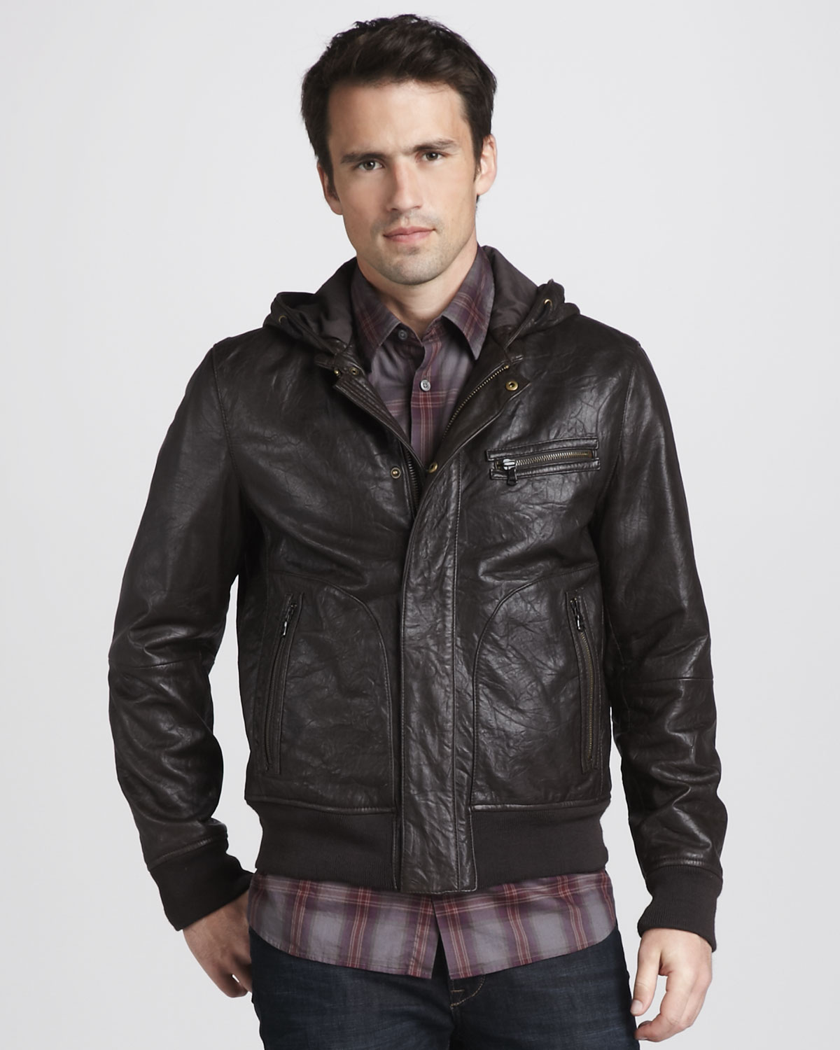 John varvatos Hooded Leather Bomber Jacket in Brown for Men | Lyst