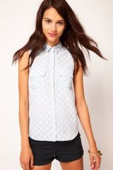 River Island Spotty Sleeveless Pocket Shirt