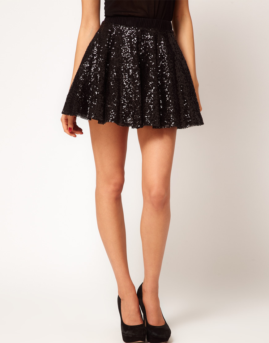 Tfnc london Sequin Prom Skater Skirt in Metallic | Lyst