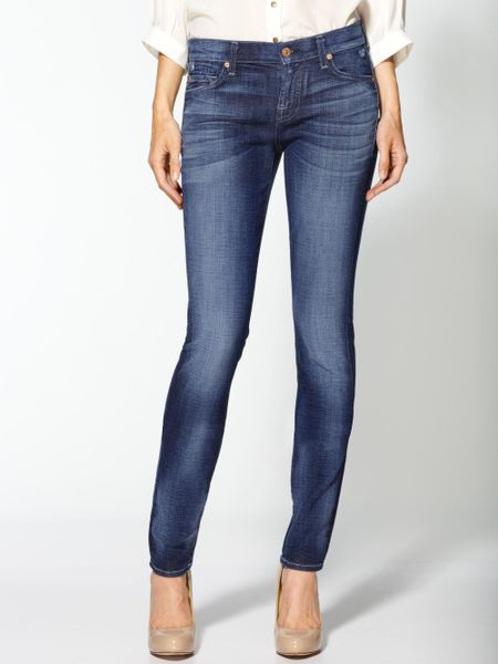 7 for all mankind roxanne skinny jeans in blue brushed. Black Bedroom Furniture Sets. Home Design Ideas