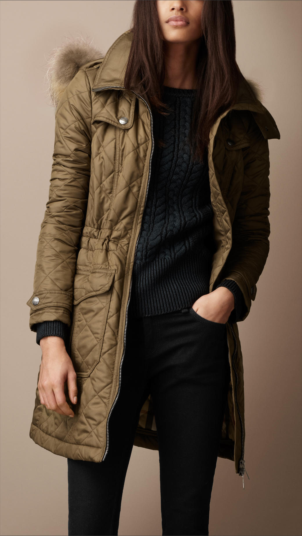 Burberry brit Diamond Quilted Fur Trim Parka in Green | Lyst : quilted parkas - Adamdwight.com