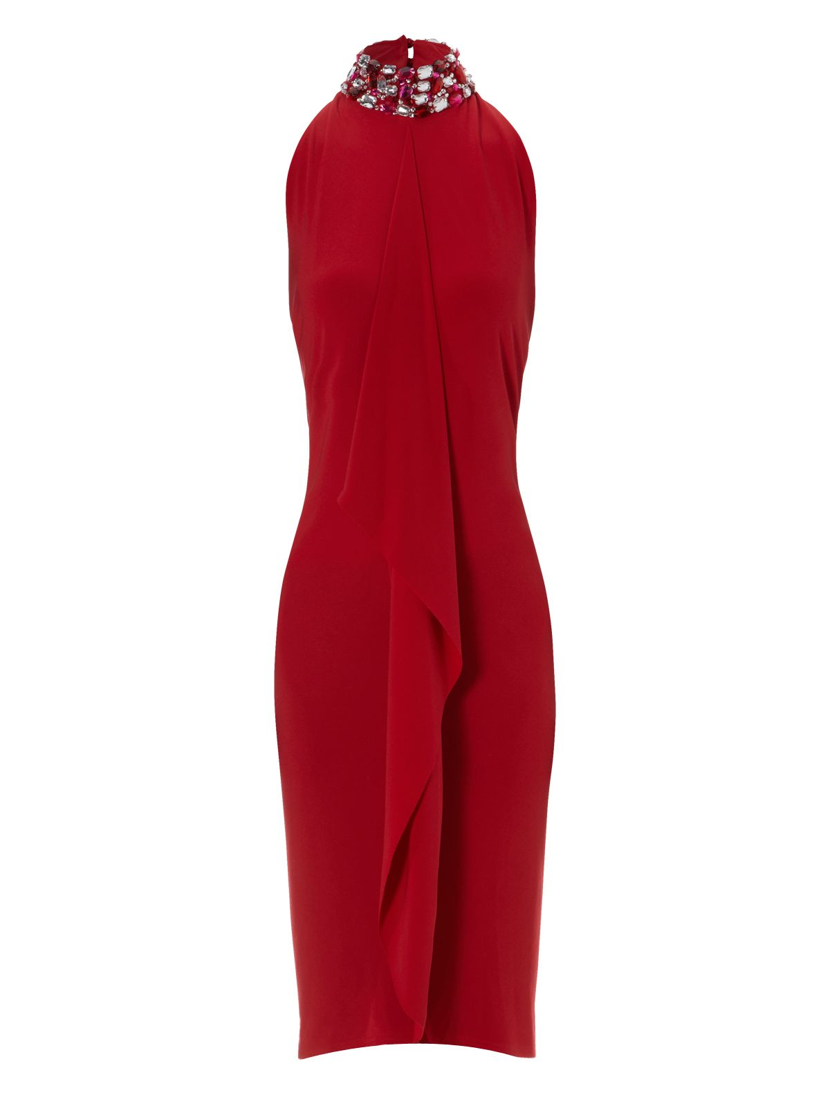 Jane norman Jewel Neck Backless Dress in Red | Lyst