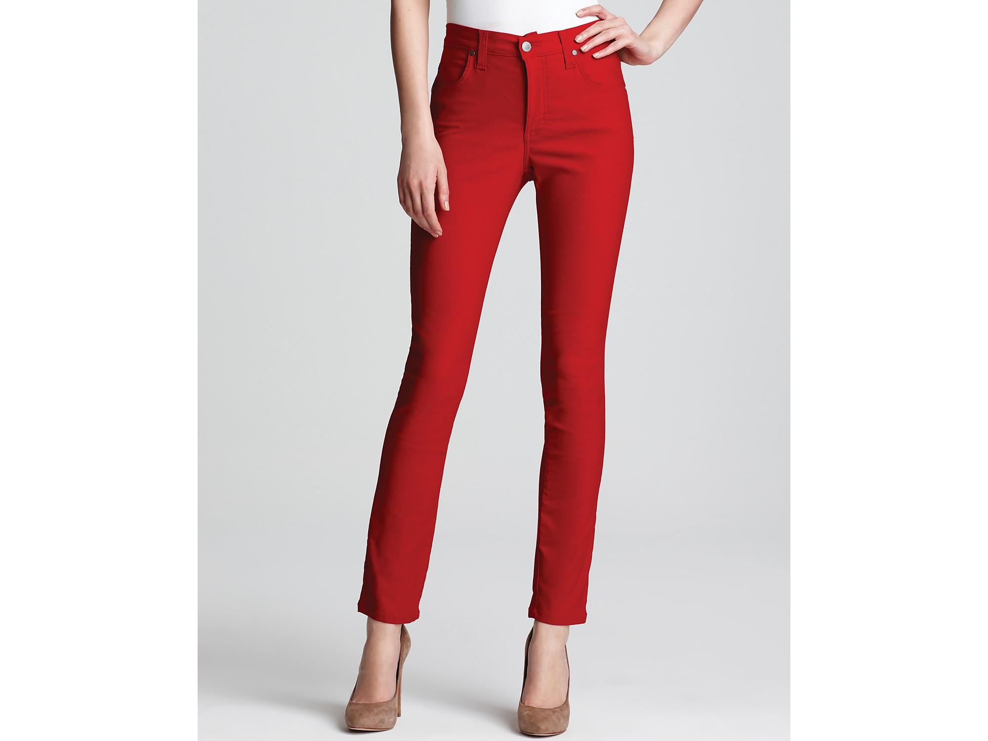 Karen kane Denim Leggings in Red   Lyst