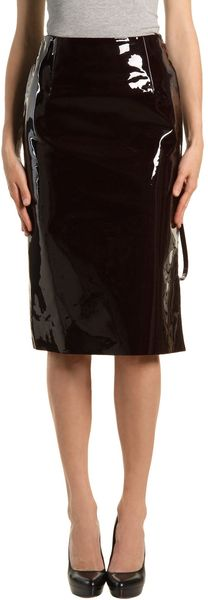 Maison Martin Margiela Leather Skirt in Purple (maroon)