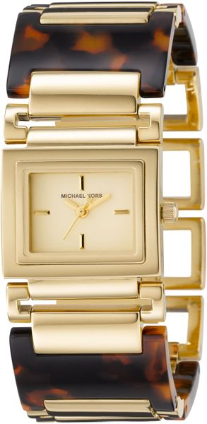 Michael Kors Tortoise Bracelet Golden Watch in Brown (null) - Lyst