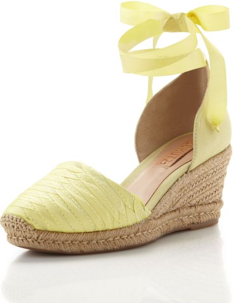 Schutz Anklewrap Espadrille Lime Green in Yellow (lime green)
